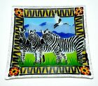 Peggy Karr 2001 Fused Art Glass Zebras Animals Of The Serengeti Square Plate