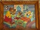 Vintage 1950s Paint By Number Goldilocks  The Three Bears Art Painting framed