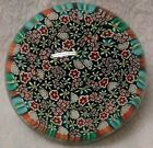Beautiful  Complex Vintage Murano Millefiori Glass Paperweight With Label Daisy