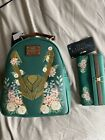 LOUNGEFLY LOKI FLORAL MINI BACKPACK And walletBoxlunch Exclusive Sold Out Marvel