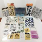 Clear Rubber Stamp Lot of 17 plus 2 acrylic handles and 1 Friskars block set