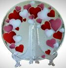 PEGGY KARR Fused Art Glass HEART Plate 11 Round Signed Pink Red Love Valentines