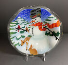 Vintage Peggy Karr 11 Scallop Snowman Bowl Tray Signed