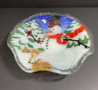 Vintage Peggy Karr 8 Scallop Snowman Bowl Tray Signed