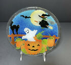 Peggy Karr 8 Round Halloween Pumpkin Ghost and Witch Platter Tray Signed