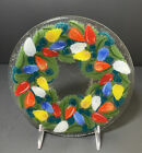 Peggy Karr 8 RARE Round CHRISTMAS LIGHTS Platter Tray Signed