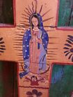 Vintage Mexican Folk Art Cross Guadalupe santos Religious Wood Hand Painted 24H
