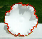 FENTON FLAME CREST Footed Double Crimped Compote 7W x 375H MINT
