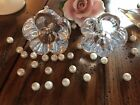 pair of Daum french crystal candlesticks signed