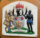 VINTAGE cast iron ENGLISH COAT OF ARMS WALL PLAQUE plate sign crest heraldic art