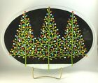 Peggy Karr Fused Glass Christmas Tree Platter 175 Black with Colored Lights