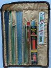 Knitting Needles Assorted Sizes Sets Bernat Boye Roll Up Tie Quilted Pouch Case
