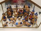 14 Piece Vintage Mexican Blue Hand Painted Clay Nativity Set w Glass Manger