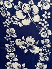 4 Yards Hawaiian Print Cotton Fabric Lot Blue White Hibiscus and Orchid Flowers