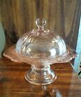 1930s Pink Depression Glass Candy Dish with Lid