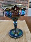 Vintage Fenton Amethyst Iridescent Carnival Glass Compote Candy Dish Daisy