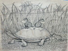 House Mouse TORTOISE AND THE MICE Stampa Rosa Stamp Turtle Mouse NEW Vtg 1998