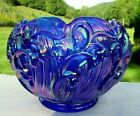 Fenton Blue Carnival Glass Lily of the Valley Rose Bowl 5W 1980s