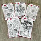 BN Woodware Floral Clear Stamp Set Bundle Lot x 5 Poppies Zinnia Sentiments 4x6