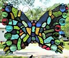 BUTTERFLY 11 x 9 1 2 real stained glass hanging window panel