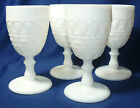 Four Kemple Lace and Dewdrop Milk Glass Goblets
