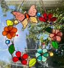 Butterfly Flower Wreath Suncatcher 10 Round Stained Glass Bronzed Accents
