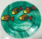 Jan Mitchell Fused Art Glass Plate Green Swirls with 4 Fish Signed