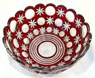 Ajka Hungary Moon  Stars Crystal Cased Glass Red Bowl Signed Original Label 9