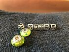 Pandora silver 925 ale murano glass beads and letter charms authentic Pandora