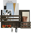 Wall Mounted Wooden Mail and Key Holder Rustic Modern Entryway Decorative Rack