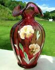 Fenton Art Glass Cranberry Hand Painted Pansy Vase Limited 733 1995 85H