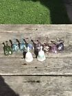 Lot Of 10 FENTON Hand Painted Bells Pink Blue Green