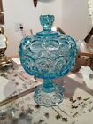 LE Smith Light Blue Moon  Stars 10 Pedestal covered Compote Candy dish