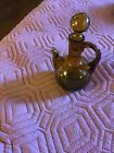 Vintage hand blown glass pitcher amber green  small decanter with stopper