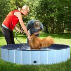 Foldable Pet Swimming Pool Portable Outdoor Dog PVC Dogs Cats Drainage Fast 63