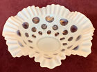 Fenton Coin Dot Milk Glass Bowl Ruffled Edge  Embedded Clear Ovals 10 Inches