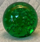 Large Green Bubble Glass Globe Ball Paperweight 4 3 4 Inches Diameter 4+ Lb Wt