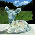 Fenton French Opalescent Hand Painted Floral Glass Fawn Vintage 1980s