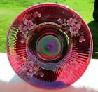 Fenton PLUM OPALESCENT FLORAL OOAK FOOTED BOWL 925W x 5H RARE