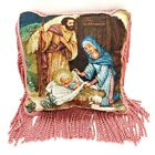 Christmas Nativity Tapestry Accent Throw Pillow 15 Square w Long Fringe Trim