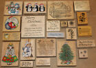LOT 23 wood mounted CHRISTMAS rubber stamps COTTAGE candy cane PENGUIN tree L