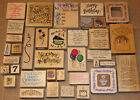 LOT 37 wood mounted BIRTHDAY rubber stamps BALLOONS words CAKE invite GIFTS W