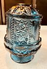Vintage Indiana Glass Blue Stars and Bars Fairy Lamp