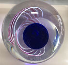 Vintage Art Glass IndIgo Blue Space Ball Paperweight Excellence Award Engraved