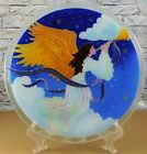 PEGGY KARR Fused Glass Christmas Herald Angel 11 Plate w Bible Verse Signed