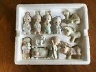 Precious Moments Nativity Set + Angel with Horn 1982 12 pieces