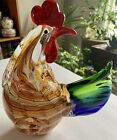 Vintage Murano style Hand Blown Art Glass Rooster multicolor Chicken Large Size