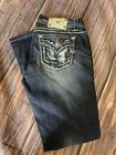 MISS ME Womens Designer Rhinestone Mid Rise Easy Boot Blue Jeans Size 30