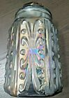 Vintage Iridescent Carnival Glass Embossed Cookie Jar Canister Scroll Pattern 9