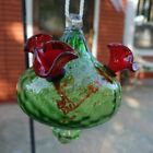 Vintage Hand Blown Art Glass Green And Red Hummingbird Feeder Hanging